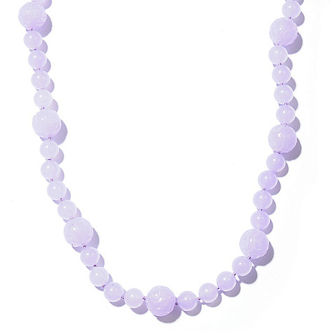 121-263 - 24.5'' Dyed & Natural Jade Bead Necklace w/ Toggle Clasp