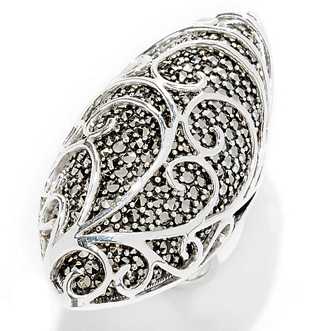121-285 - Dallas Prince Sterling Silver Wave Overlay Ring Made w/ Swarovski® Marcasite