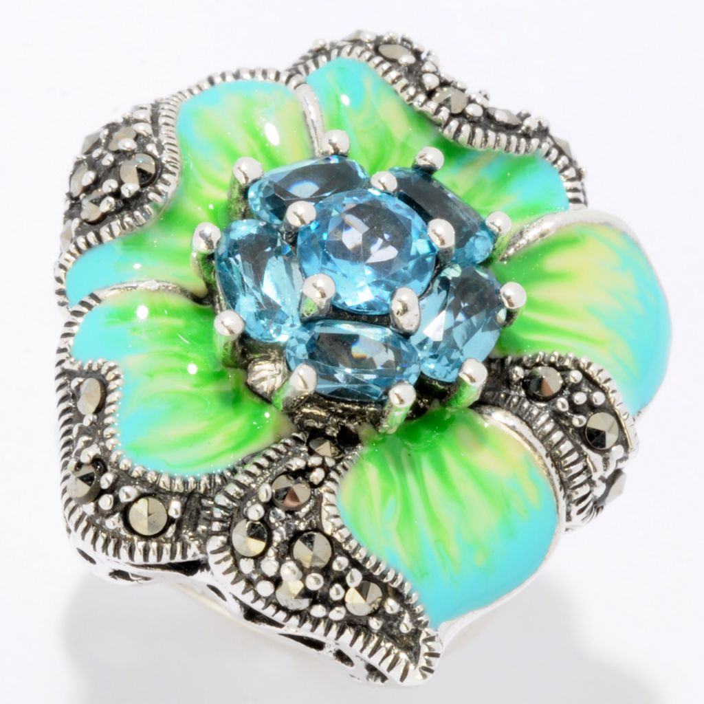 121-291 - Dallas Prince Sterling Silver 1.95ctw Topaz Ring Made w/ Swarovski® Marcasite