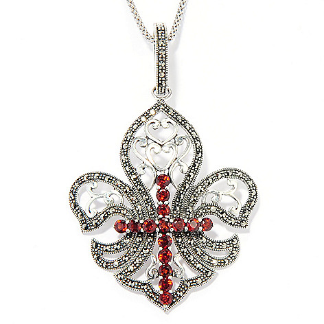 121-294 - Dallas Prince Sterling Silver Gemstone Pendant Made w/ Swarovski® Marcasite