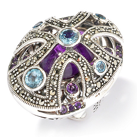 121-311 - Dallas Prince Sterling Silver Multi Gem Ring Made w/ Swarovski® Marcasite