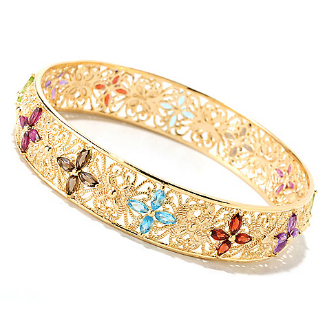 121-313 - Jaipur Bazaar Gold Embraced™ 8'' Multi Gemstone Slip-on Bangle Bracelet