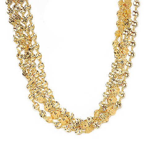 121-338 - Portofino Gold Embraced[ 20'' Multi Strand ''Luna'' Disk Link Necklace