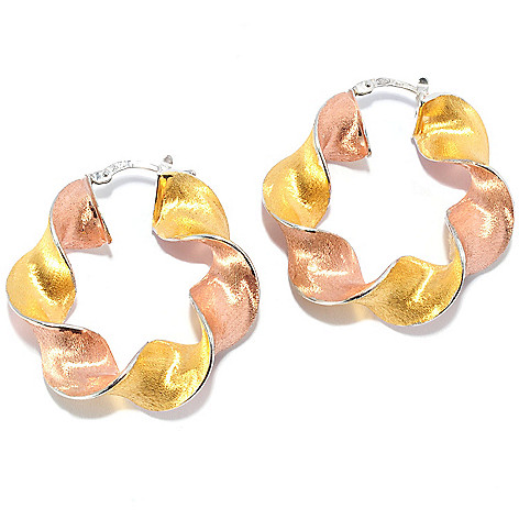 121-346 - Portofino 18K Gold Embraced™ Polished & Satin Finished Ribbon Hoop Earrings