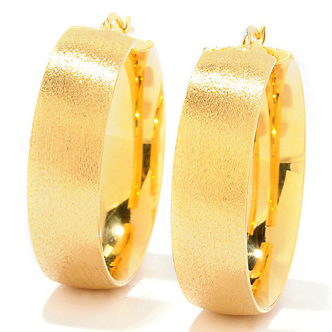 121-349 - Portofino 18K Gold Embraced™ 1.5'' Polished & Satin Finished Hoop Earrings