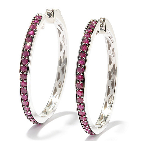 121-392 - Gem Treasures Sterling Silver 1.25'' Gemstone Hoop Earrings w/ Lever Backs