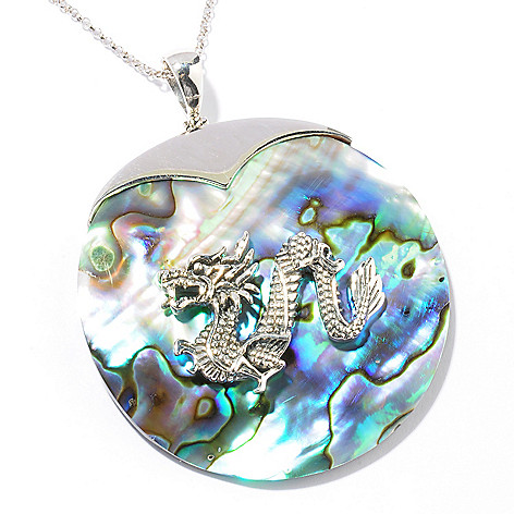 121-399 - Gem Insider Sterling Silver 50mm Abalone Dragon Pendant w/ 18'' Chain