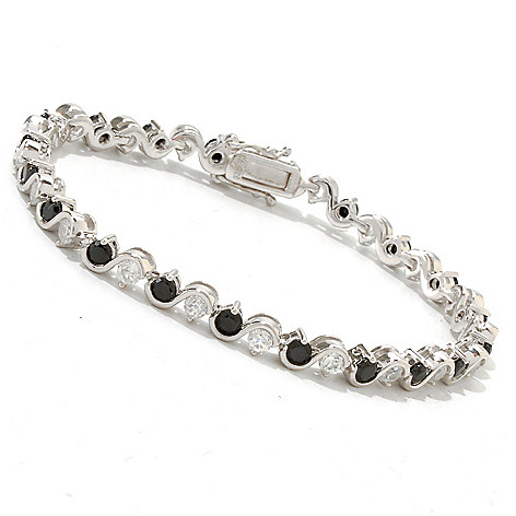 121-409 - Gem Treasures Sterling Silver 5.40ctw Black Spinel & White Zircon Bracelet