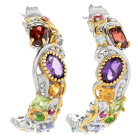 121-410 - Gems en Vogue 3.56ctw Multi Gemstone ''Carnaval'' J-Hoop Earrings
