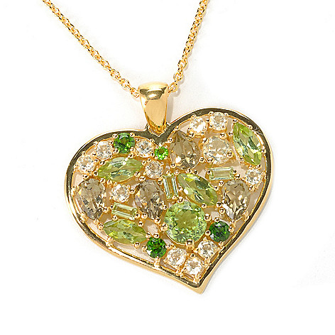 121-464 - NYC II Multi Gemstone Heart Pendant w/ 18'' Chain