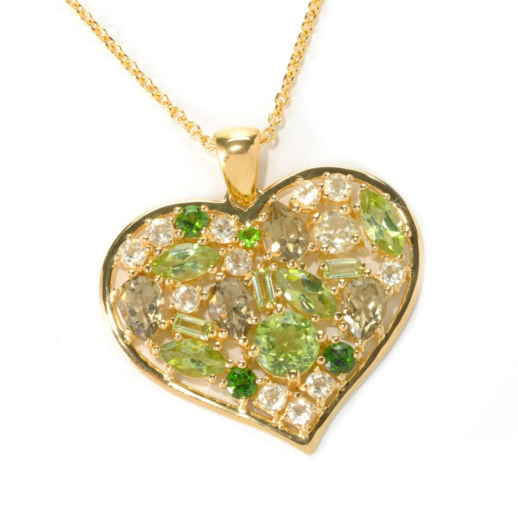 "121-464 - NYC II Multi Gemstone Heart Pendant w/ 18"" Chain"