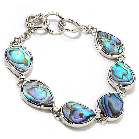 121-484 - Gem Insider Sterling Silver 8'' Pear Shaped Abalone Toggle Bracelet