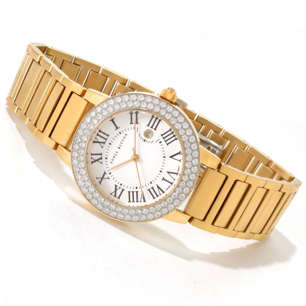 121-506 - Sonia Bitton Simulated Diamond Swiss Quartz Stainless Steel Bracelet Watch