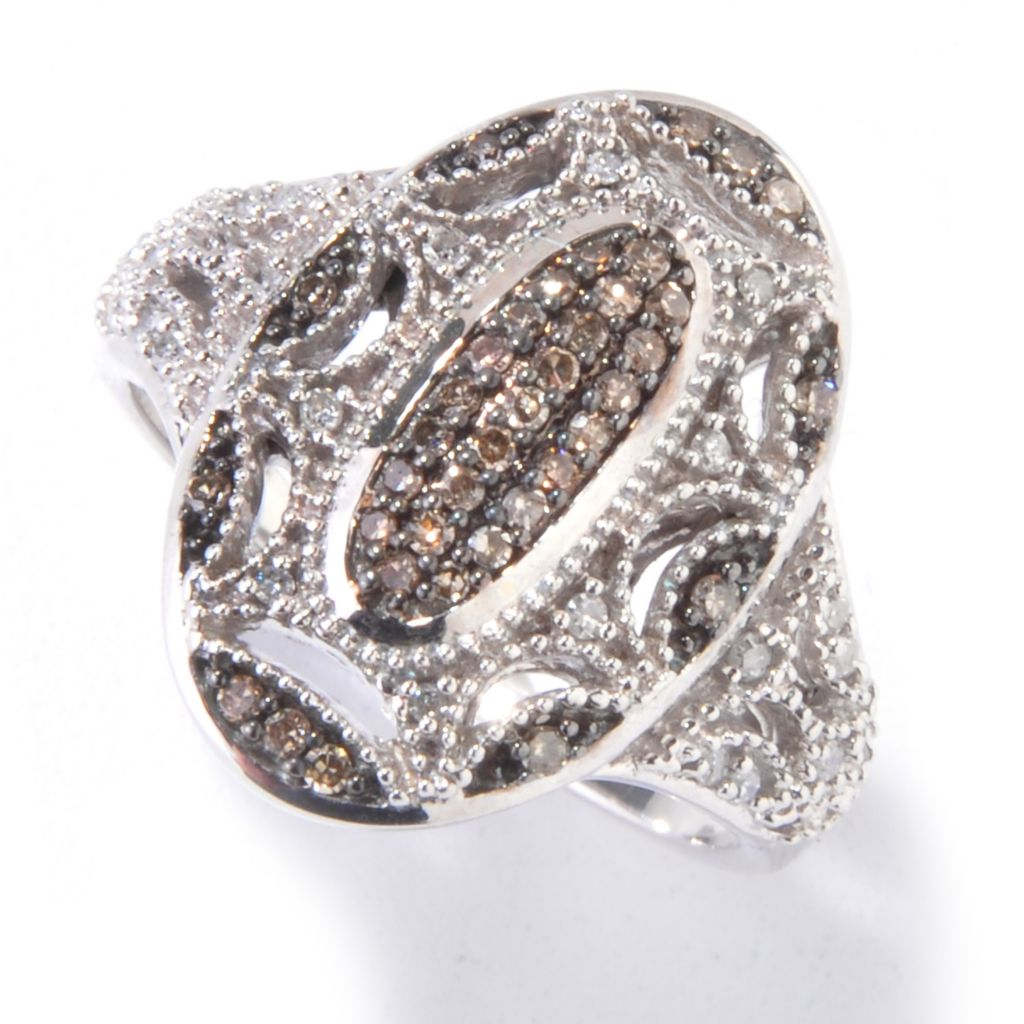 121-547 - Sterling Silver 0.25ctw White & Fancy Color Diamond Oval Beadwork Ring