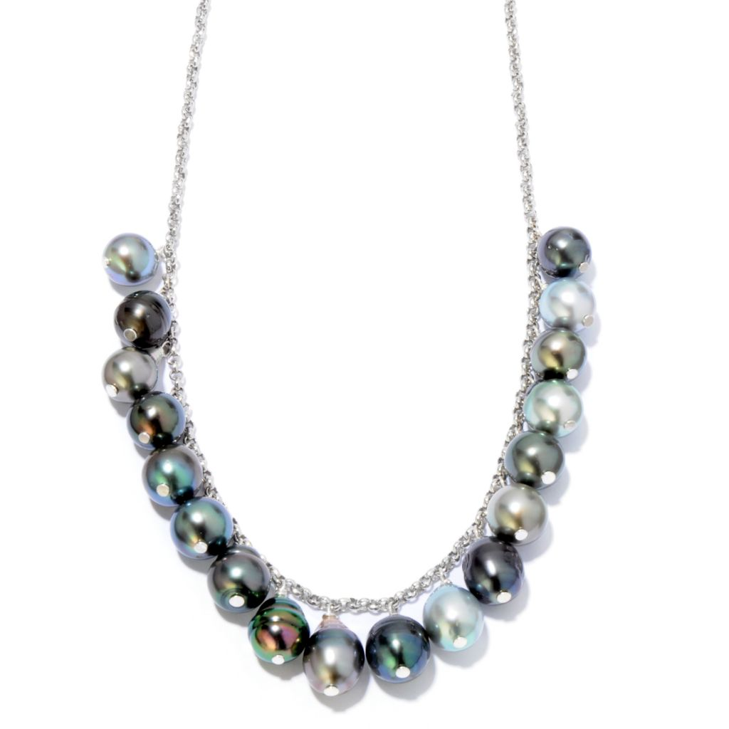 "121-638 - Sterling Silver 20"" 9-10mm Tahitian Cultured Pearl Chain Necklace"