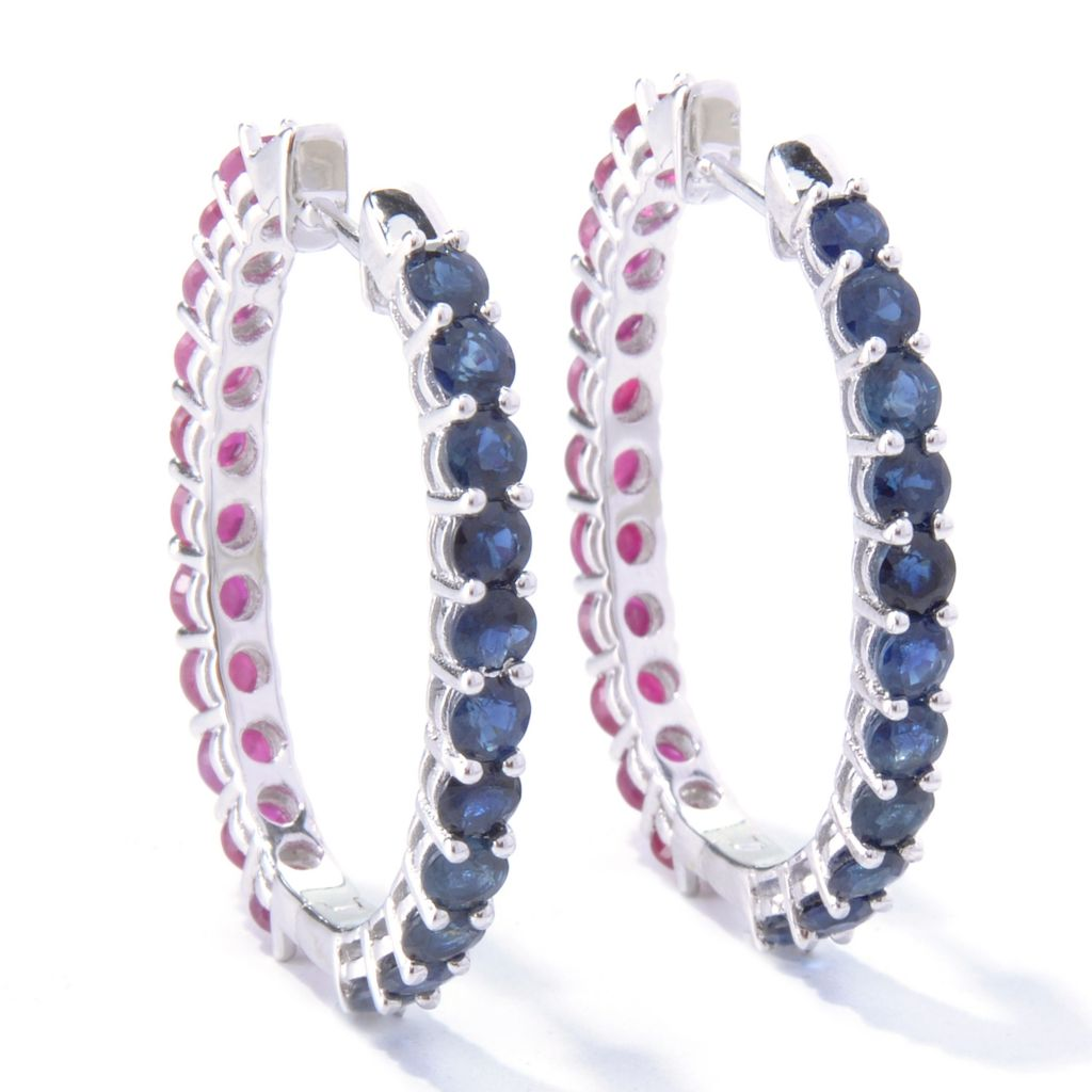 121-689 - NYC II 6.11ctw Blue Sapphire & Ruby Double-Sided Hoop Earrings