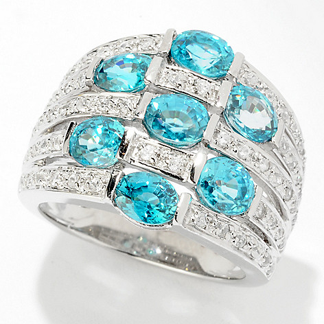 121-693 - NYC II 5.34cw Blue Zircon Wide Band Ring