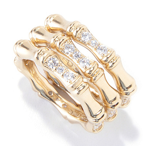 121-699 - Sonia Bitton Set of Three Platinum Embraced™ Simulated Diamond Bamboo Stack Rings