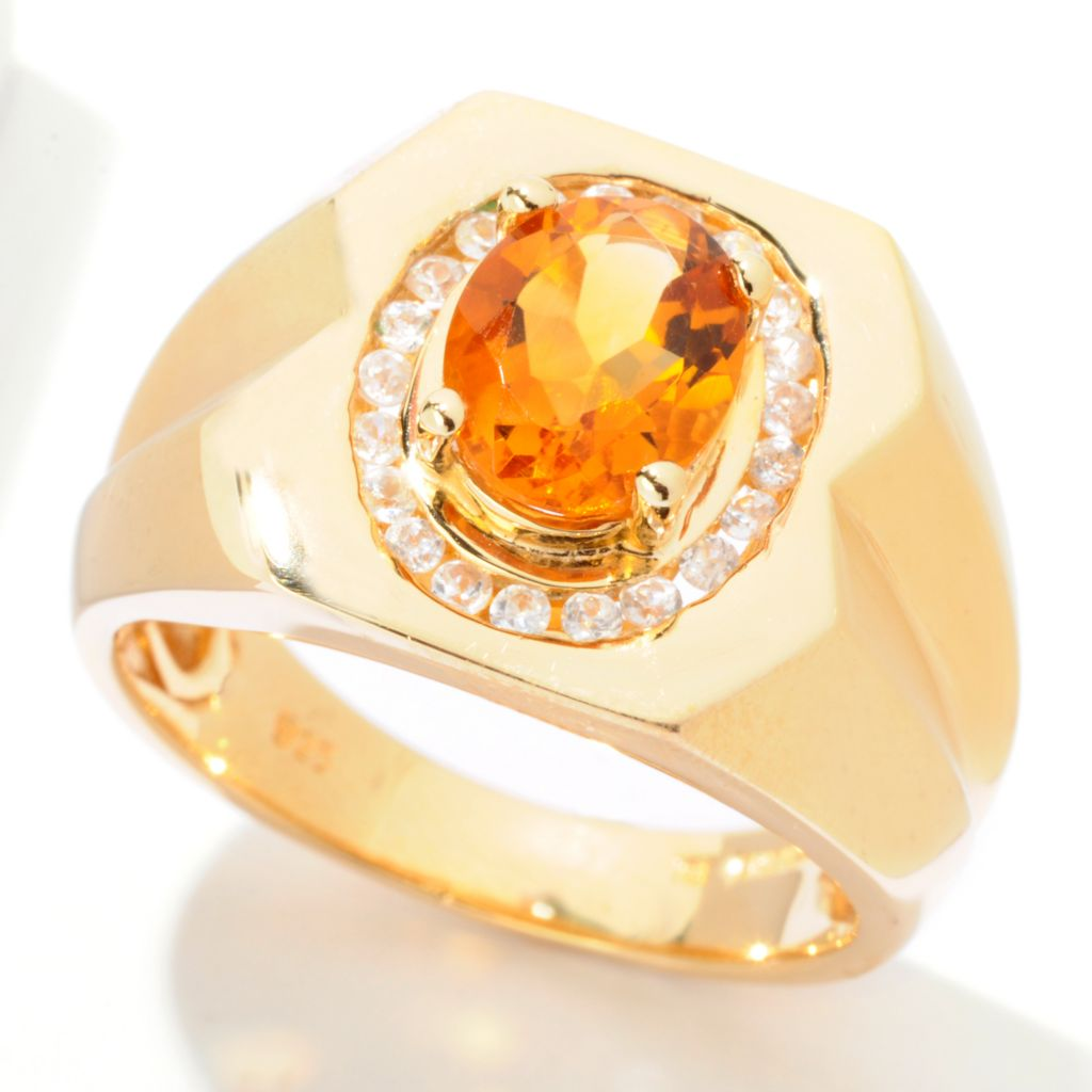 121-710 - NYC II Men's 2.13ctw Madeira Citrine & White Zircon Ring