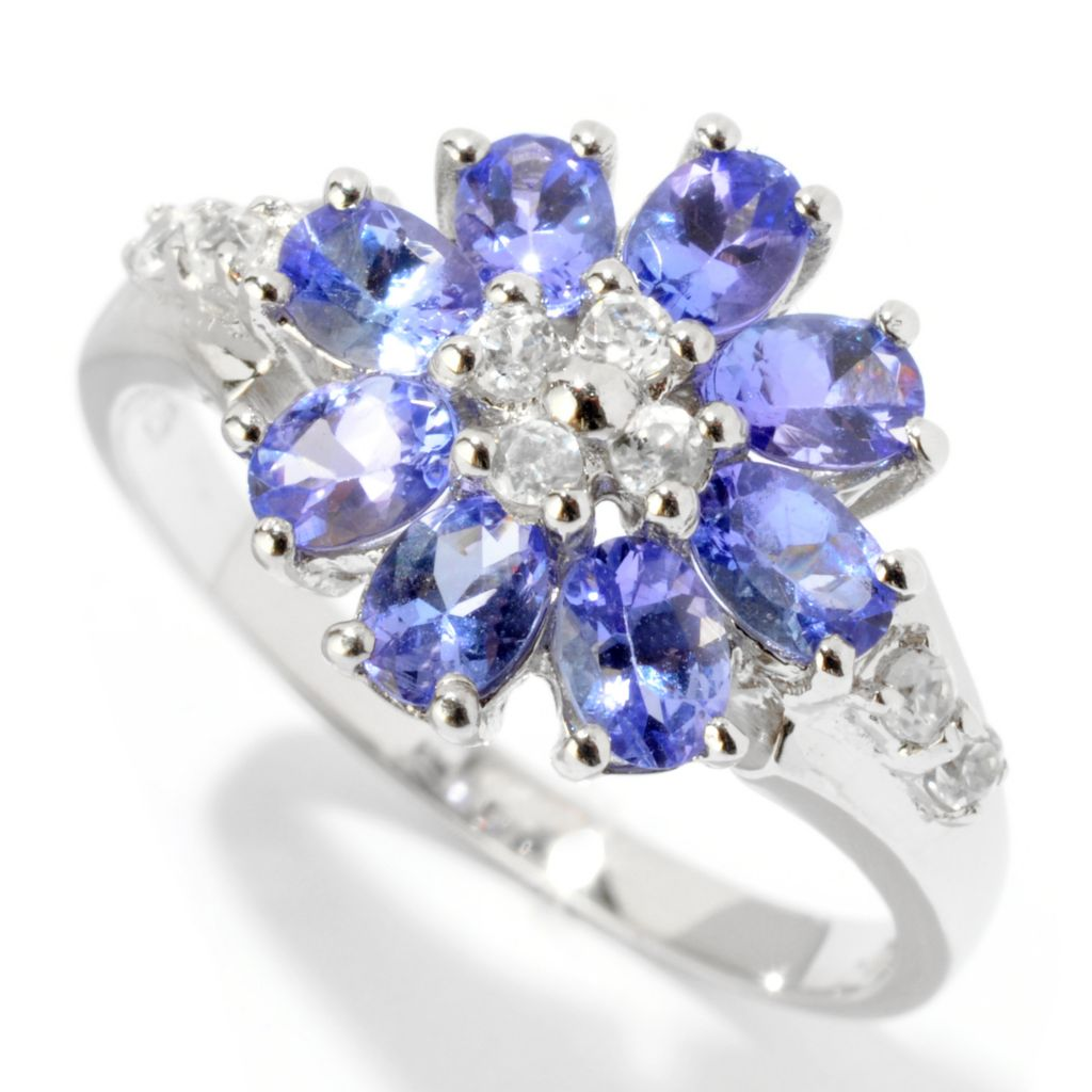 121-712 - NYC II 1.45ctw Tanzanite & White Zircon Flower Ring
