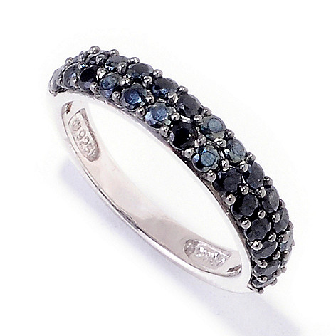121-717 - Gem Treasures Sterling Silver 1.19ctw Black Spinel Stack Ring