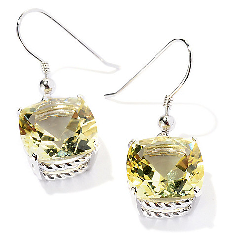121-780 - Gem Insider Sterling Silver 1.25'' Cushion Cut Gemstone Drop Earrings