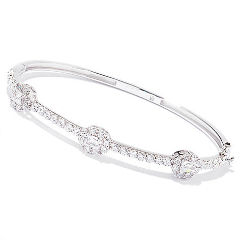 121-792 - TYCOON Platinum Embraced™ 3.32 DEW Rectangle Simulated Diamond Bangle Bracelet