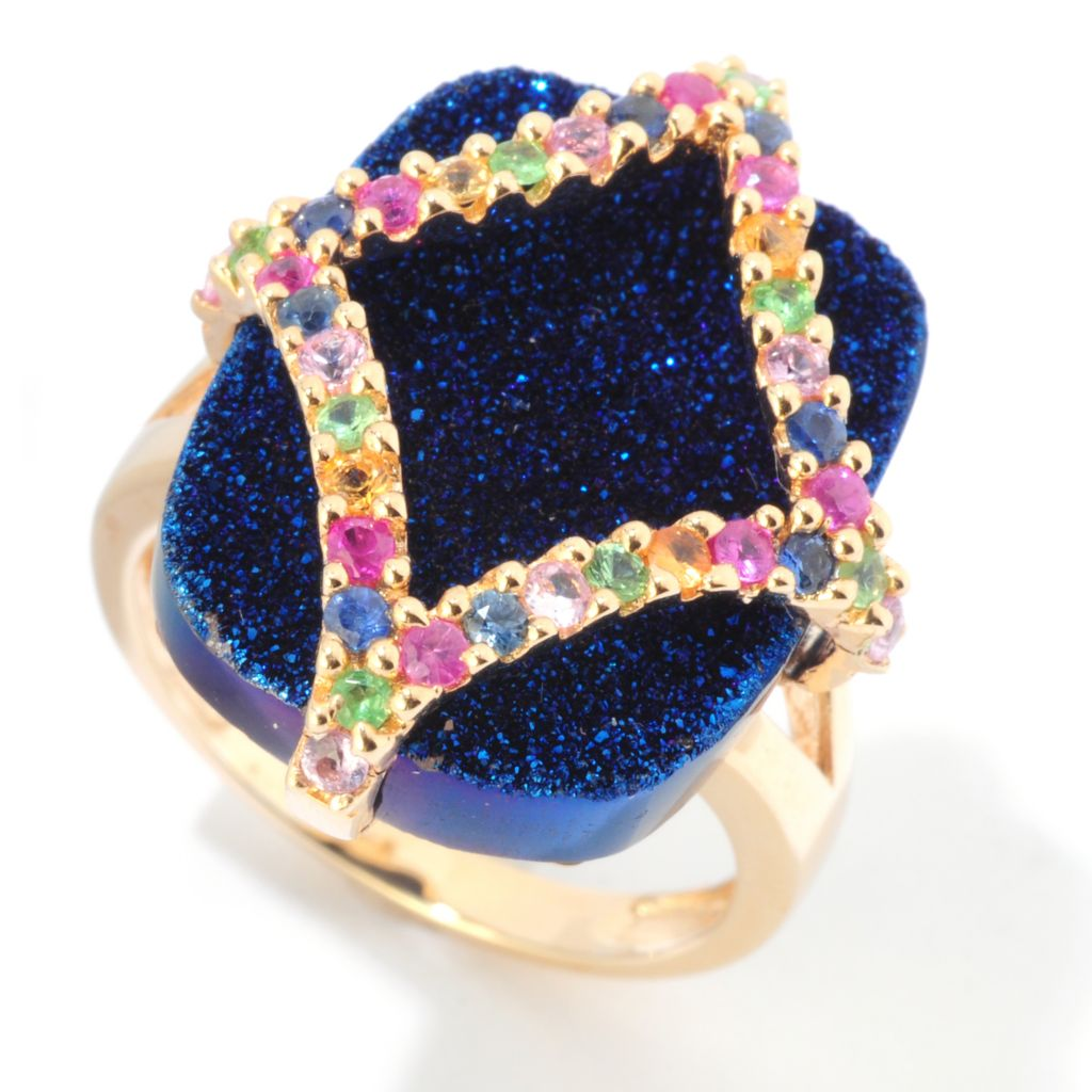 121-827 - Gem Insider 19 x 14mm Electric Blue Drusy & Multi Gem Ring