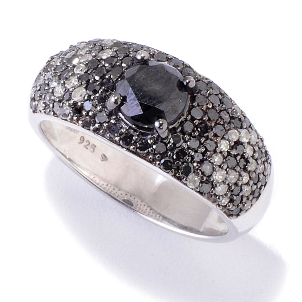 121-831 - Diamond Treasures Sterling Silver 1.72ctw Black & White Diamond Pave Ring