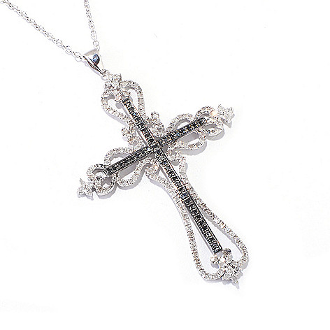 121-832 - Diamond Treasures Sterling Silver 1.00ctw Black & White Diamond Cross Pendant