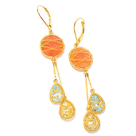 121-836 - Kristen Amato 2.75'' 12mm Peach Moonstone, Quartz & Topaz Drop Earrings