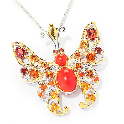 121-841 - Gems en Vogue II Multi Gemstone Butterfly Pin / Pendant w/ 18'' Chain