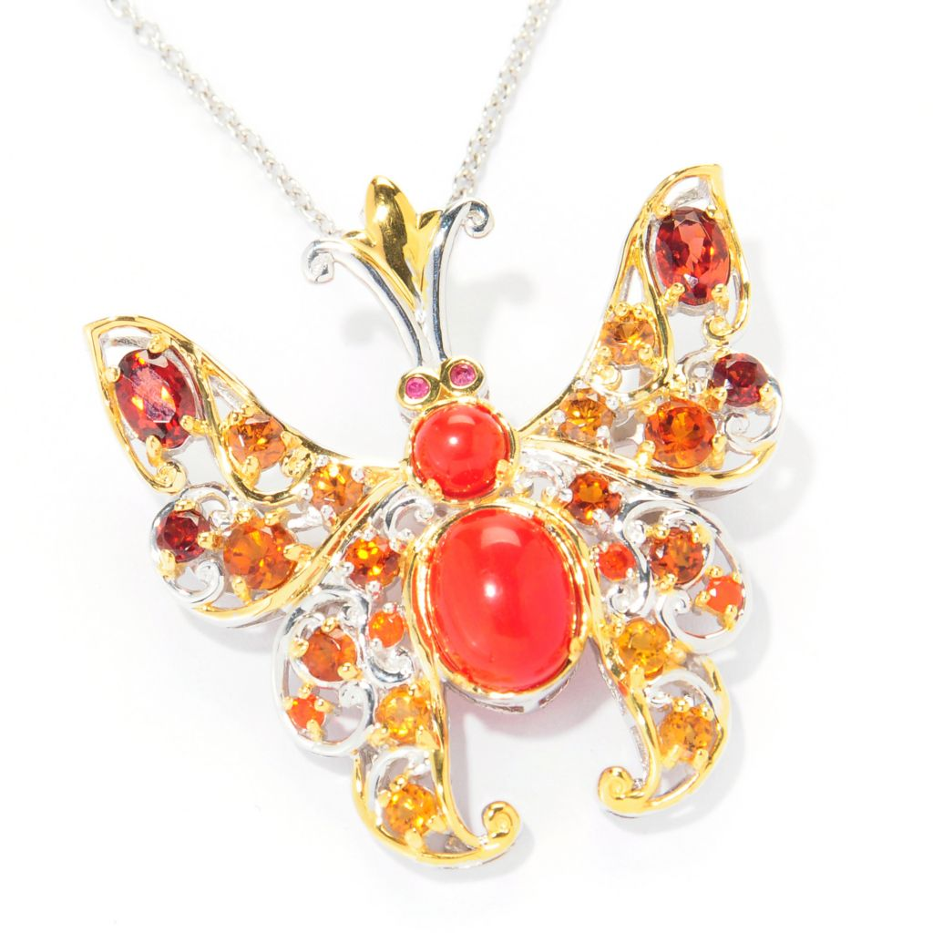 "121-841 - Gems en Vogue II Multi Gemstone Butterfly Pin / Pendant w/ 18"" Chain"