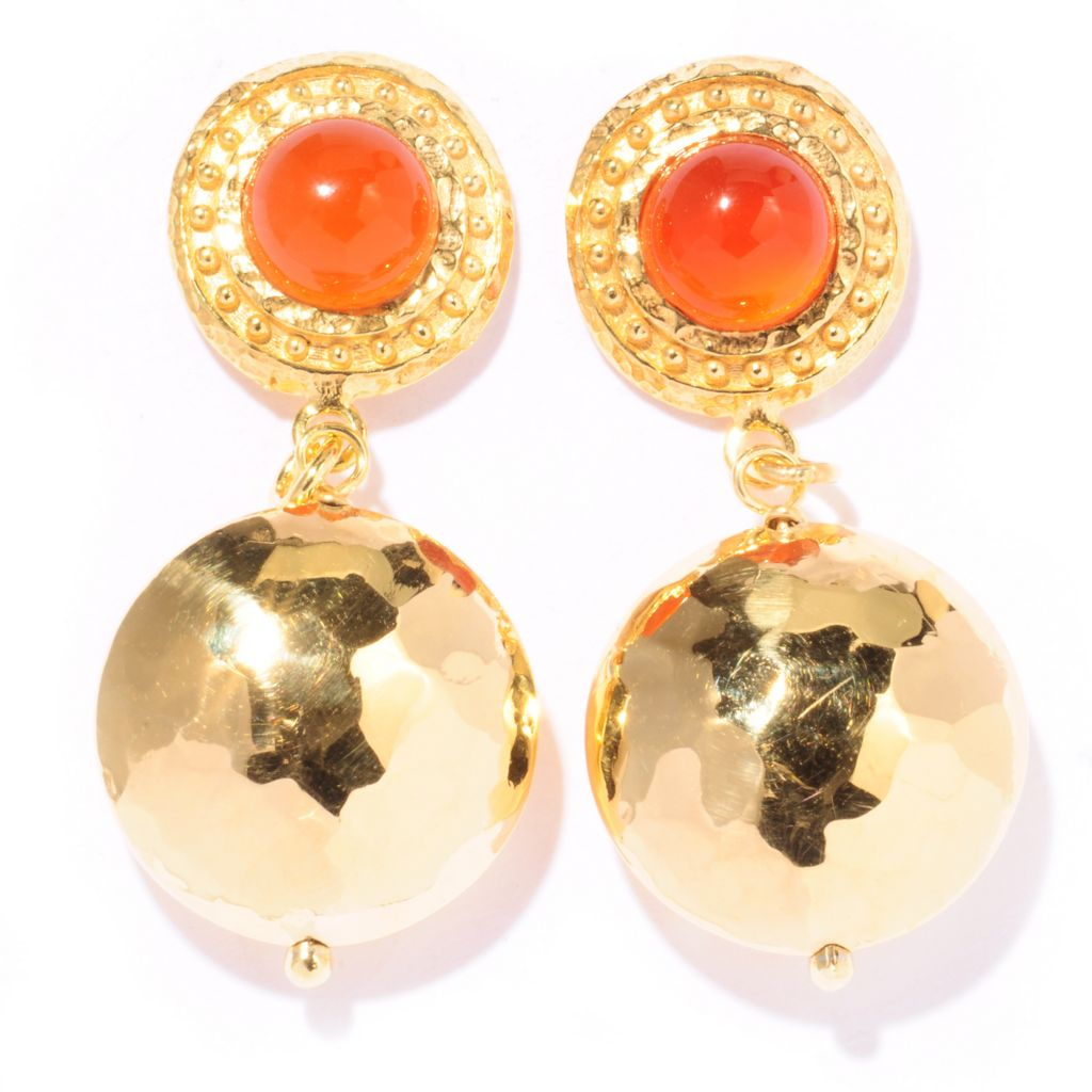 121-851 - Toscana Italiana Gold Embraced™ 2.88ctw Gemstone Fancy Hammered Drop Earrings