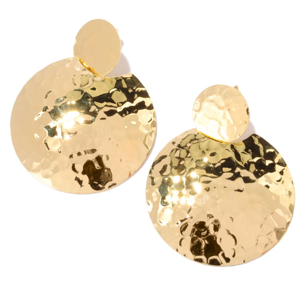 "121-855 - Toscana Italiana 18K Gold Embraced™ 2"" High Polished Round Martellato Medallion Earrings"