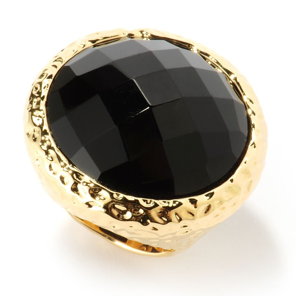 121-856 - Toscana Italiana Gold Embraced™ 25mm Faceted Onyx Polished Hammered Ring