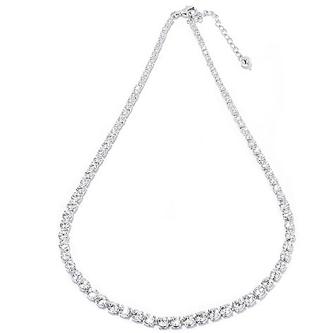 121-860 - Brilliante® 16'' 10.30 DEW Simulated Diamond Tennis Necklace w/ 2'' Extender