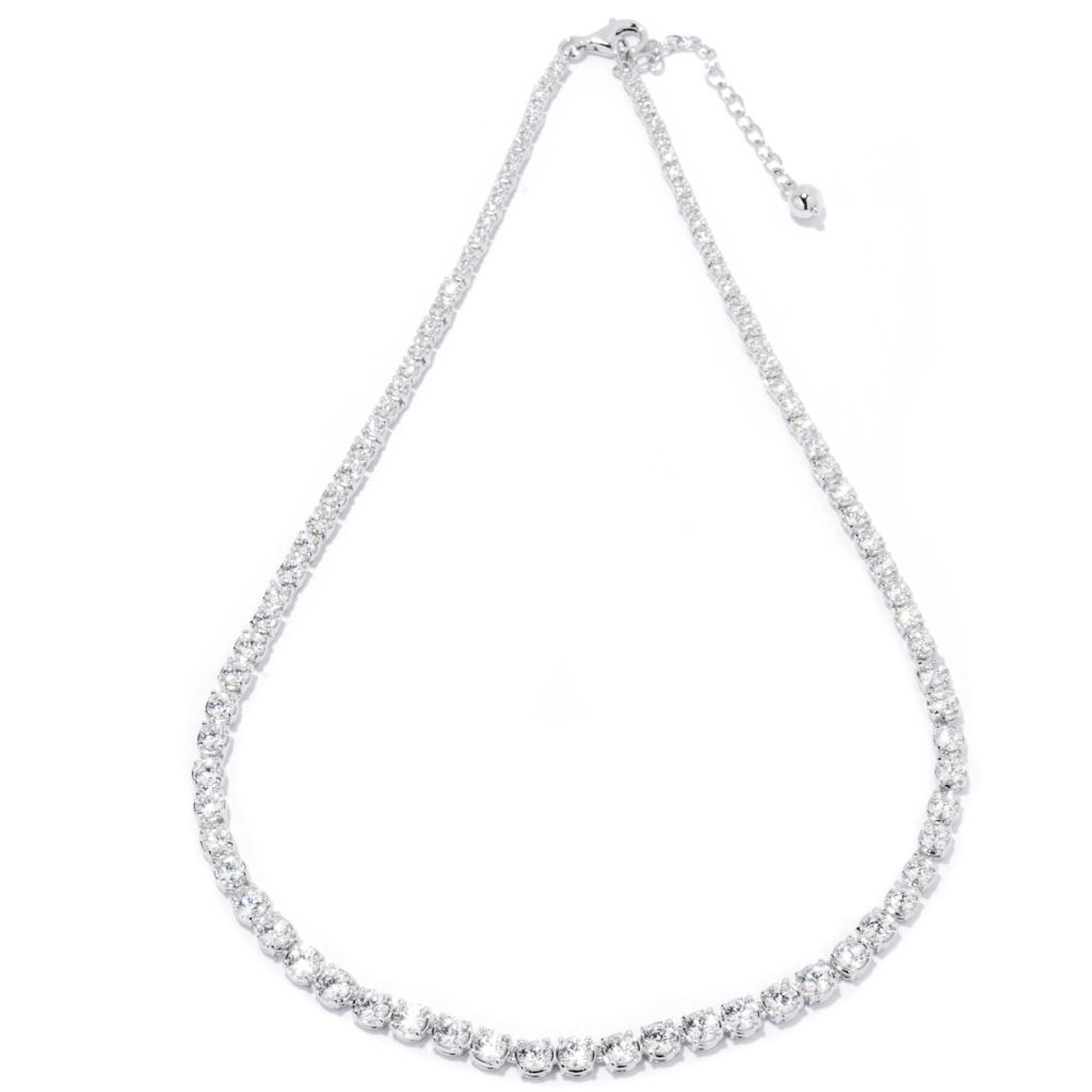 "121-860 - Brilliante® 16"" 10.30 DEW Simulated Diamond Tennis Necklace w/ 2"" Extender"