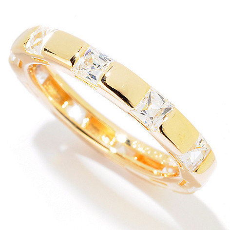 121-865 - TYCOON 1.82 DEW Square Station Simulated Diamond Eternity Band Ring