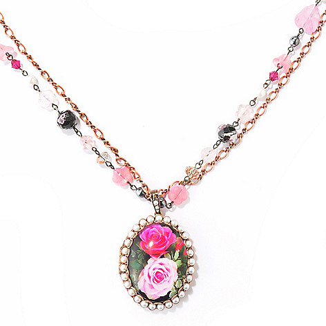 121-874 - Sweet Romance™ 33.5'' Crystal & Glass Painted Rose Locket Necklace w/ Extender