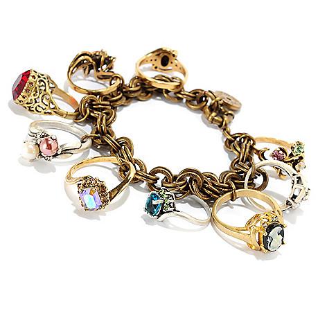 121-879 - Sweet Romance™ Two-tone 8'' Antique Style Charm Bracelet
