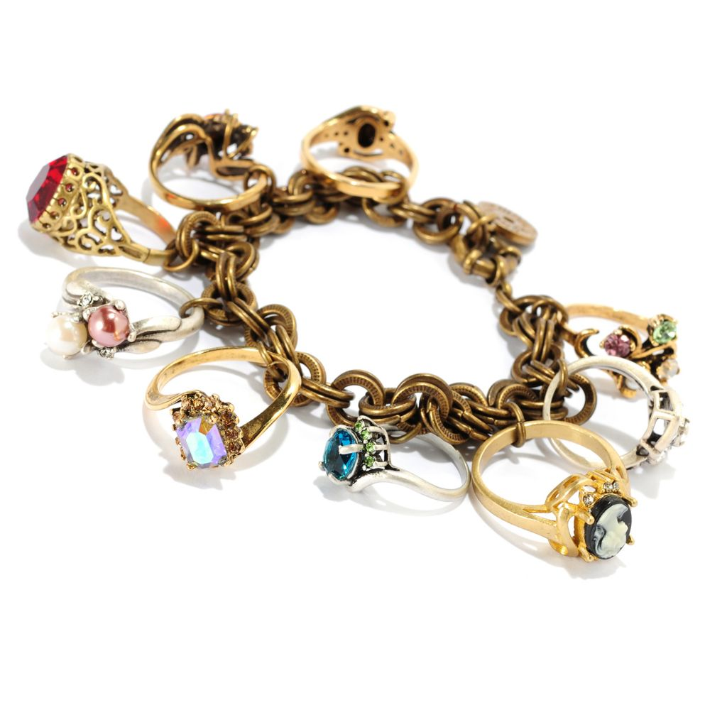 "121-879 - Sweet Romance™ Two-tone 8"" Antique Style Charm Bracelet"