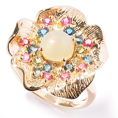 121-890 - NYC II 1.78ctw Multi Gemstone Textured Flower Ring