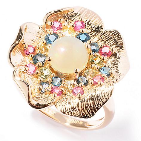 121-890 - NYC II 1.78ctw Multi Gemstone Textured Flower Ring