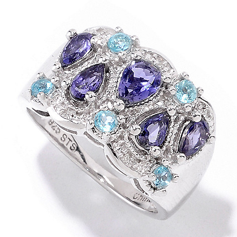 121-893 - NYC II 1.07ctw Iolite, Apatite & Diamond Ring