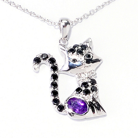 121-898 - NYC II 1.11ctw Purple Amethyst, Black Spinel & Diamond Accent Cat Pendant