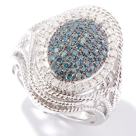 121-929 - Diamond Treasures® Sterling Silver 1.00ctw Blue & White Diamond Rope Detail Ring