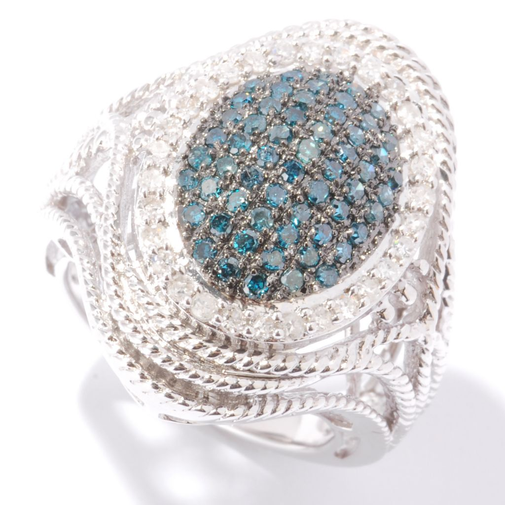 121-929 - Diamond Treasures Sterling Silver 1.00ctw Blue & White Diamond Rope Detail Ring