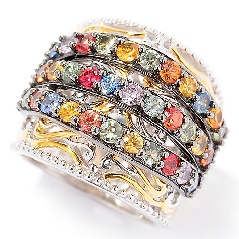 121-954 - Gems en Vogue II 2.64ctw Three-Row Multi Sapphire Wide Cigar Band Ring