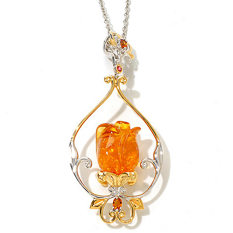 121-956 - Gems en Vogue 1.45ctw Carved Baltic Amber Tulip Pendant w/ 18'' Chain